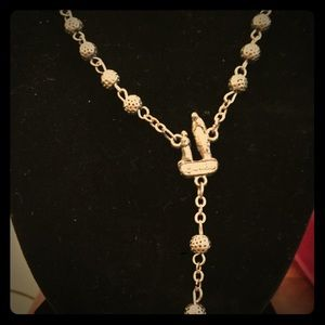 🇫🇷 Lourdes Madonna Rosary Silvertone from France